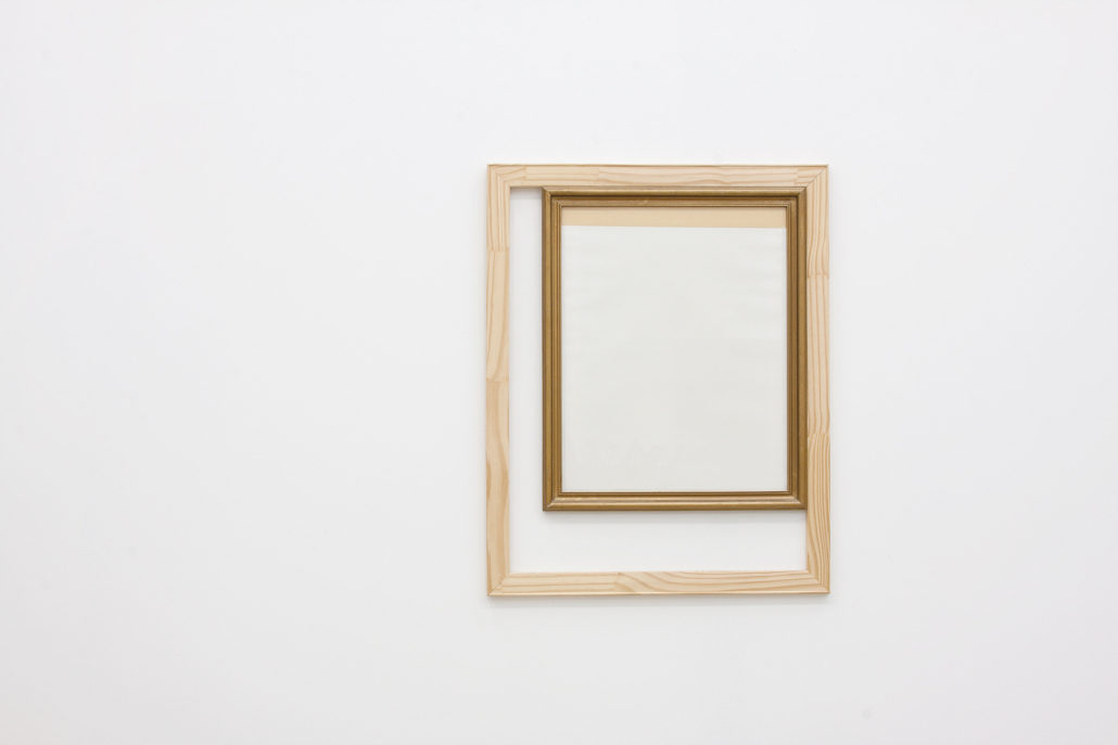 Leyden Rodriguez-Casanova. A Frame Inside a Wooden Structure, 2013. Wood, glass, paper, tape, metal. 23.5 x 29.5 in, 59.69 x 74.93 cm.