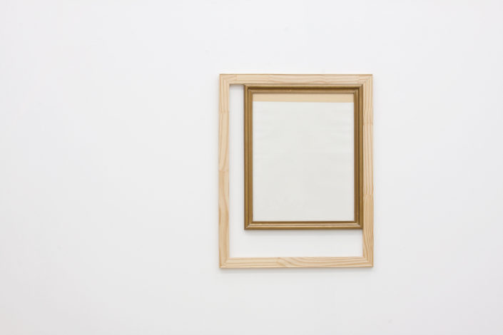 Leyden Rodriguez-Casanova. A Frame Inside a Wooden Structure, 2013. Wood, glass, paper, tape, metal. 23.5 x 29.5 in, 59.69 x 74.93 cm.