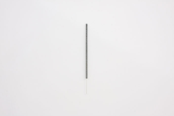 Leyden Rodriguez-Casanova. Vertical Bracket and Rod, 2014. Steel bracket, plastic rod. 0.75 x 31 in, 1.905 x 78.74 cm.