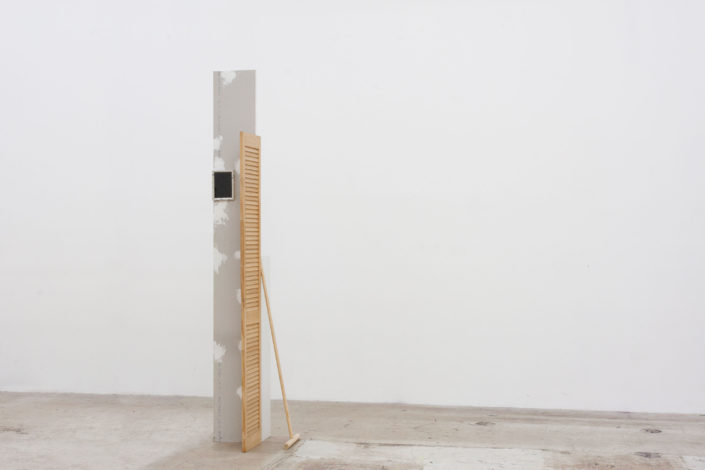 Leyden Rodriguez-Casanova. Wall Door Shelf Mop Frame, 2014. Drywall, wood door, wood, MDF, aluminum, steel. Dimensions variable.