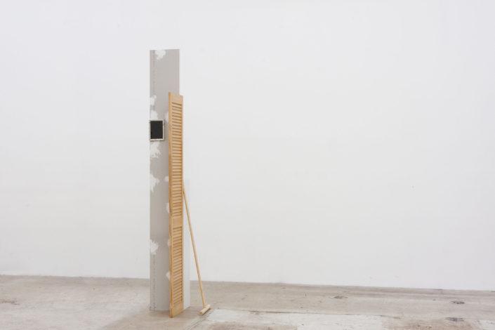 Leyden Rodriguez-Casanova. Wall Door Shelf Mop Frame, 2014. Drywall, wood door, wood, MDF, aluminum, steel. Dimensions variable.