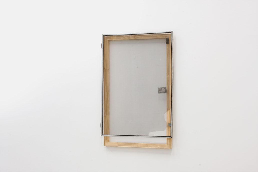 Leyden Rodriguez-Casanova. Wood Structure and Tattered Screen, 2013. Wood, aluminum, steel, PVC. 25.5 x 38 in, 64.77 x 96.52 cm.