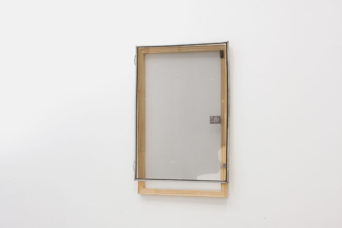 Leyden Rodriguez-Casanova. Wood Structure and Tattered Screen, 2013. Wood, aluminum, steel, PVC. 25.5 x 38 in, 64.77 x 96.52 cm.