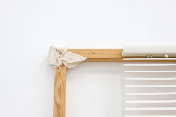 Leyden Rodriguez-Casanova. A Wood Structure, Blinds and Canvas, 2013. Wood, PVC blinds, canvas, metal. 31 x 71 in, 78.74 x 180.34 cm, Sayago & Pardon Collection, San Diego, CA, USA.
