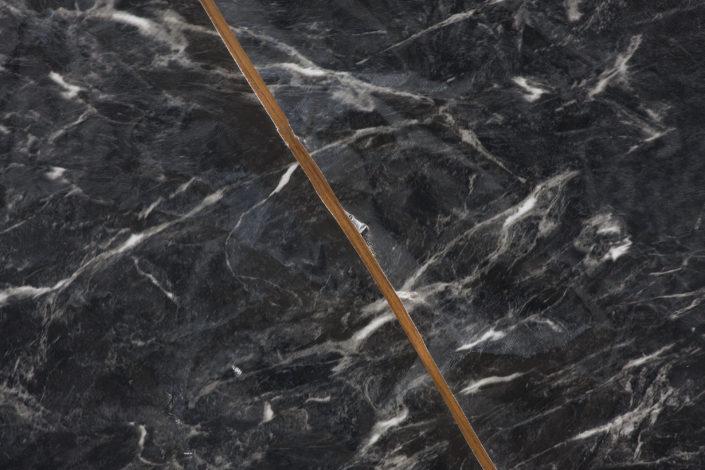 Leyden Rodriguez-Casanova. Round Faux Marble, 2014. Vinyl, wood, steel. 41.5 x 41.5 x 12 in, 105.41 x 105.41 x 30.48 cm.