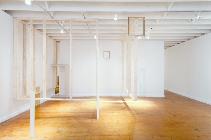 Leyden Rodriguez-Casanova. A Divided Structural Composition, 2015. Drywall, wood, joint compound, metal, glass, particle board, MDF, formica, vinyl laminate, screen, ceramic. Dimensions variable.