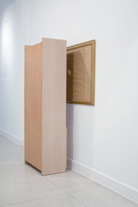 Leyden Rodriguez-Casanova. A Shelf In Front of a Frame, 2011. MDC, particle board, wood, glass, metal. Dimensions variable.