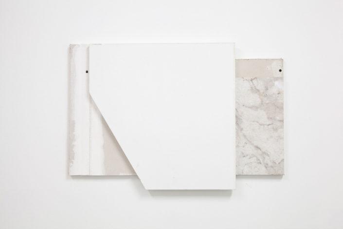 Leyden Rodriguez-Casanova. A Wall Composition, 2015. Drywall, plywood, laminate, metal.