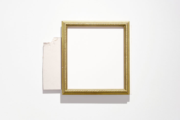 Leyden Rodriguez-Casanova. Gold Frame, Drywall and Panel, 2015. Drywall, plywood, laminate, metal.
