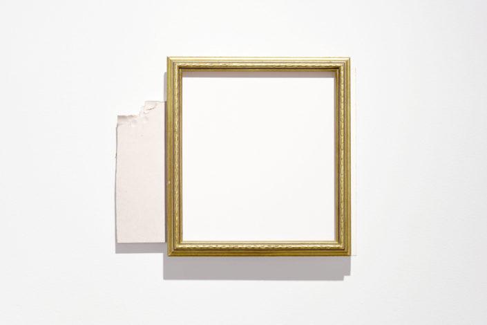 Leyden Rodriguez-Casanova. Gold Frame, Drywall and Panel, 2015. Drywall, plywood, laminate, metal.
