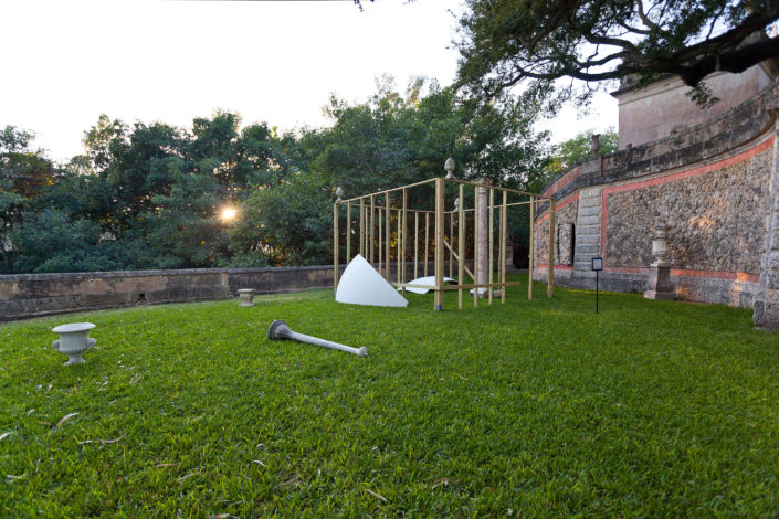Leyden Rodriguez-Casanova. A Fragmented Casba, 2016. Wood, foam, fiberglass, metal, concrete, marble. Site specific installation at Vizcaya Museum & Gardens for Lost Spaces centennial exhibition, dimensions variable.
