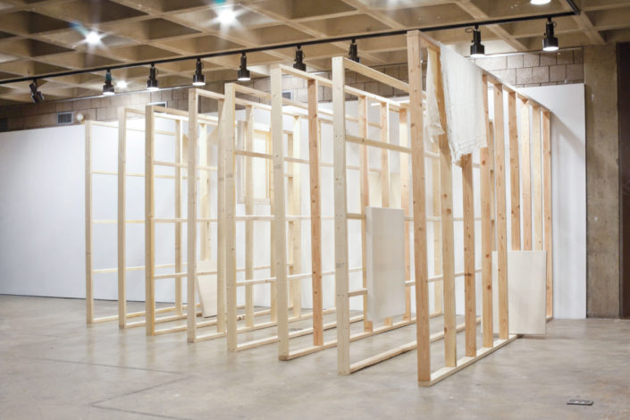 Frances Trombly & Leyden Rodriguez-Casanova. The Fabric of a Space, 2012. Wood, hand woven canvas, steel. Dimensions variable. Site specific installation Abrons Center, New York, NY, USA. Collaboration with Frances Trombly under the alias: Trombly Rodriguez.