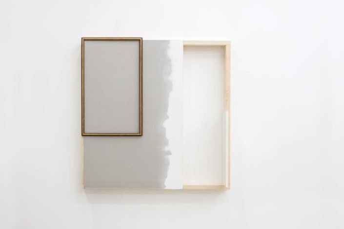 Leyden Rodriguez-Casanova. The First Unfinished Wall Work, 2015. Drywall, wood, particle board, vinyl, metal. 48 x 48 x 12 in, 121.92 x 121.92 cm.