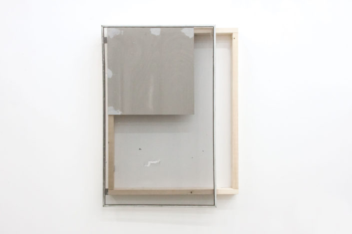 Leyden Rodriguez-Casanova. The Second Unfinished Wall Work, 2015. Drywall, wood, joint compound, metal, vinyl screen. 50 x 37.5 x 5.5 in, 127 x 95.25 x 13.97 cm.