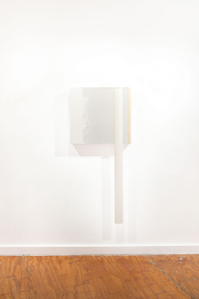 Leyden Rodriguez-Casanova; The Third Unfinished Wall Work, 2015; Drywall, wood, metal, joint compound, plastic; 25.5 x 57 x 2 in, 64.77 x 144.78 x 5.08 cm.