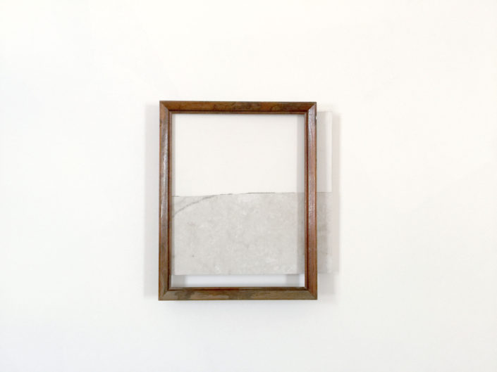 Leyden Rodriguez-Casanova. Wood Frame and Broken Tile on Shelf, 2015. Wood frame, vinyl tile, plywood, laminate, metal. 14 x 12.5 x 2 in, 35.56 x 31.75 x 5.08 cm.
