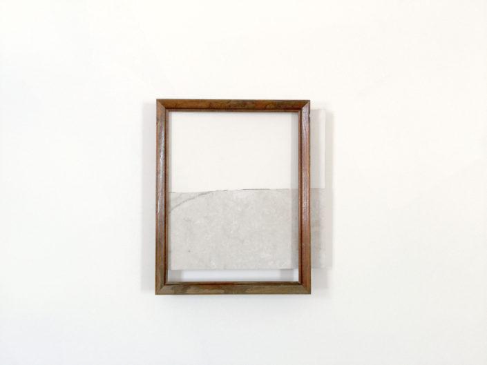 Leyden Rodriguez-Casanova. Wood Frame and Broken Tile on Shelf, 2015. Wood frame, vinyl tile, plywood, laminate, metal. 14 x 12.5 x 2 in, 35.56 x 31.75 x 5.08 cm.