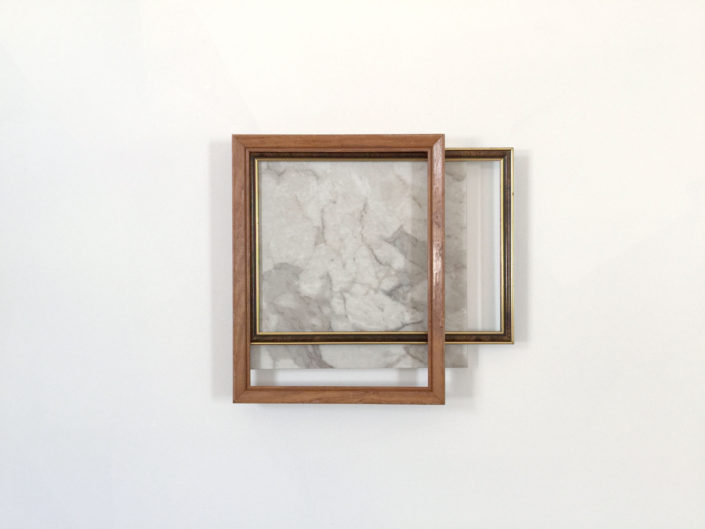 Leyden Rodriguez-Casanova. Wood and Plastic Frames with Tile on Shelf, 2015. Wood, plastic, vinyl tile, plywood, laminate, metal. 14 x 15.25 x 2 in, 35.56 x 38.735 x 5.08 cm.