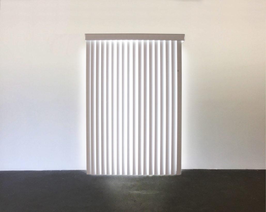 Leyden Rodriguez-Casanova. White Light Blinds, 2007. PVC vertical blinds, custom lightbox. 80 x 48 x 12 in, 203.2 x 121.92 x 30.48 cm.