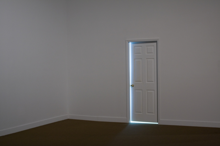 Leyden Rodriguez-Casanova. A Seemingly Open Door, 2008. Wood, MDF, metal, fluorescent lights. Dimensions variable. Site specific installation, Miami Art Museum.