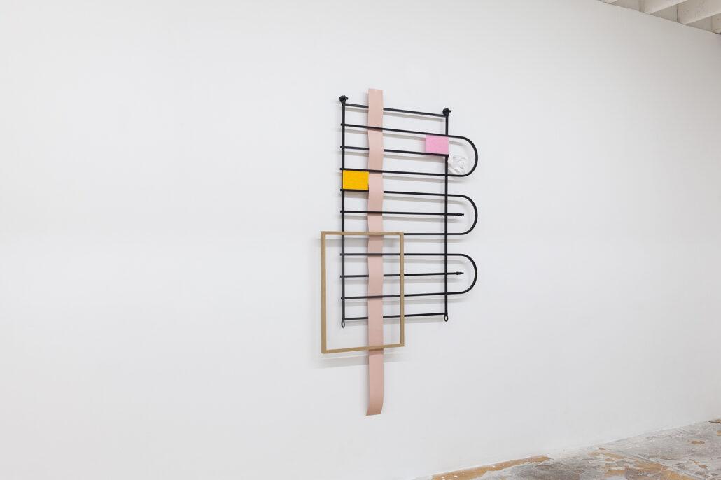 Leyden Rodriguez-Casanova. Gate Composition (White Glove), 2020 (side view).